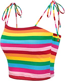 Allegra K Women's Colorful Rainbow Striped Tie Spaghetti Straps Crop Top Sleeveless Summer Cami Tube Tops