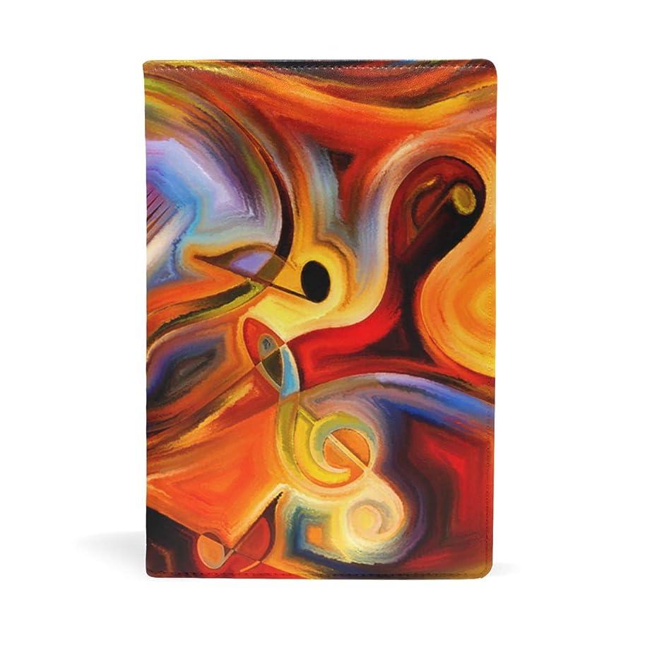 フェローシップ先にメディカル抽象水彩ギター音符 ブックカバー 文庫 a5 皮革 おしゃれ 文庫本カバー 資料 収納入れ オフィス用品 読書 雑貨 プレゼント耐久性に優れ