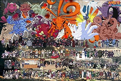 HSPHFX 1000 Piezas Pintura Cerebro Desafío Rompecabezas de Madera Pequeño Pascente Jigsaw Puzzle Juego Educación Descompresión Juguetes para niños Adulto (Naruto Family Retratos Grandes Familia)