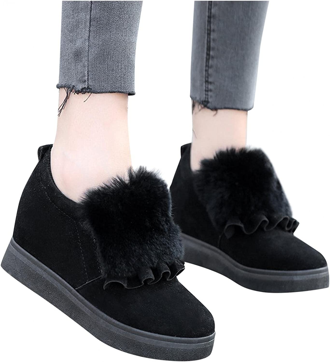 Masbird Boots for Women with Heel Flat Round Toe Fluffy Boots Slip On Winter Ankle Boots Combat Cowgirl Boots