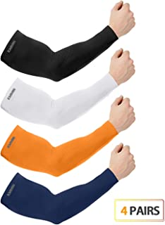 KMMIN Arm Sleeves UV Protection for Driving Cycling Golf Basketball Warmer Cooling UPF 50 Sunblock Protective Gloves for Men Women Adults Covering Tattoos