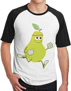 Sakanpo Men Awesome Running Pear Short Sleeve Baseball Tee Raglan T-Shirt Black