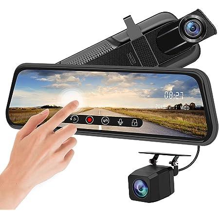 10 1080P Large Screen FHD Dual Lens Dash Camera YEESTEK Mirror Dash Cam 170/° Wide Angle,Super Night Vision,G-Sensor,Loop Recording