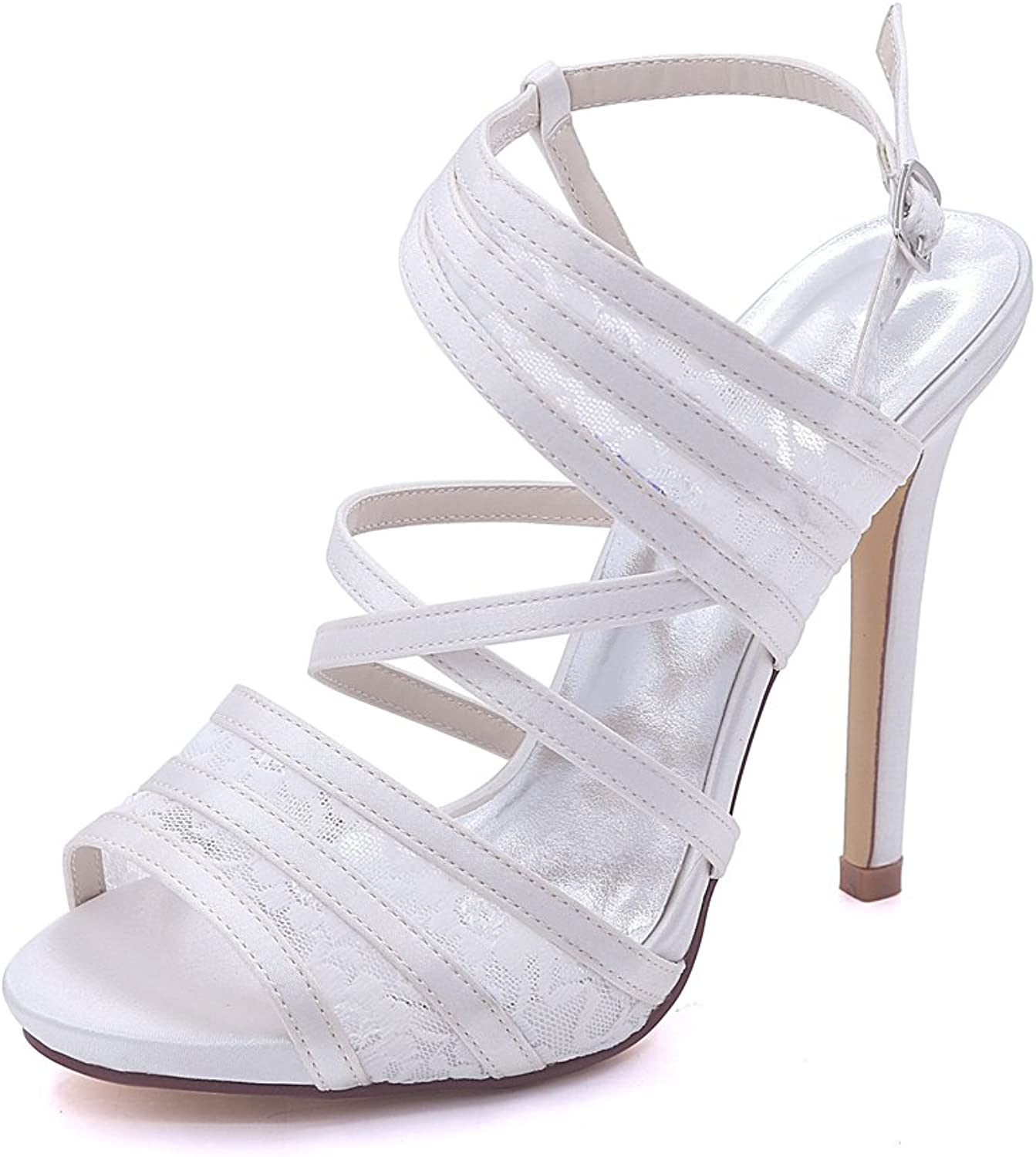 Hjtrust Women's shoes for Prom Evening Party Pumps Heels Tulle Wedding shoes 7216-07 Ivory