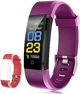 F-FISH Pulsera Actividad Inteligente Pantalla Color Reloj con Pulsómetro Impermeable Monitor de Ritmo Cardíaco Podómetro Deportiva Fitness Tracker para Mujer Hombre Niños