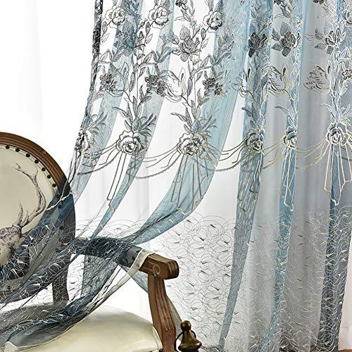 200/cm TINE HOME CURTAINS fen/être Rideaux Sheer Voile Tulle pour Chambre /à Coucher Salon Balcon de Cuisine imprim/é Tulipe Motif Sun-Shading Rideau Produit Fini 100