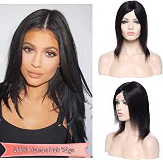 Unprocessed Brazilian Human Hair Wigs Middle Part Natural Machine Made 130% Density Soft Straight Virgin Hair Wigs Glueless For Black Women #1B Natural Black 10inch 130g