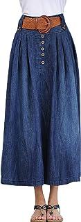 Lentta Women's Vintage Full Ankle Length High Waist Belted Maxi Long Denim Skirt