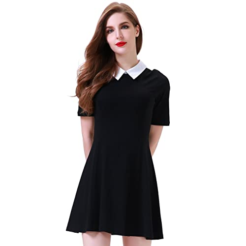 1a3748da8df Aphratti Women s Short Sleeve Casual Peter Pan Collar Flare Dress