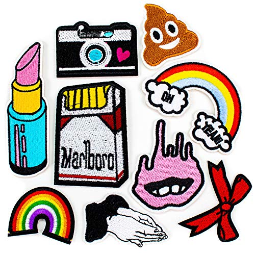 AGFXN - jiajutao 9 PCS Patches Iron On Embroidered Decorative Patch Sewing Appliques for Clothes Girls Kids Pants DIY Accessories, Rainbow