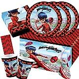 Amscan/Hobbyfun Set de fiesta de 45 piezas de Miraculous Ladybug, platos, vasos, servilletas, mantel y pajitas para 8 niños
