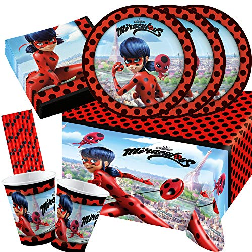 Amscan/Hobbyfun Set da 45 pezzi – Miraculous Ladybug piatti, bicchieri, tovaglia, cannucce per 8 bambini