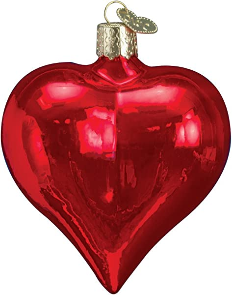 Old World Christmas Ornaments Large Shiny Red Heart Glass Blown Ornaments For Christmas Tree