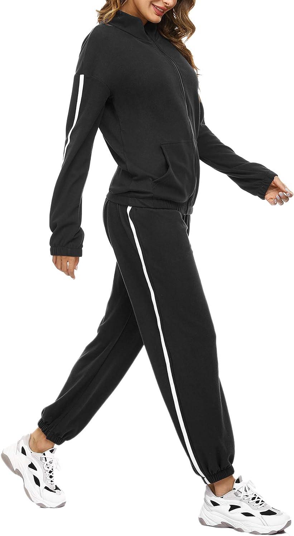 Aibrou Tuta da Ginnastica Donna Tuta da Casa Due Pezzi Felpa con Cerniera e Pantaloni Lunghi Tuta per Tempo Libero Completo Sportivo per Jogging Training Sportiva Casual Pigiama