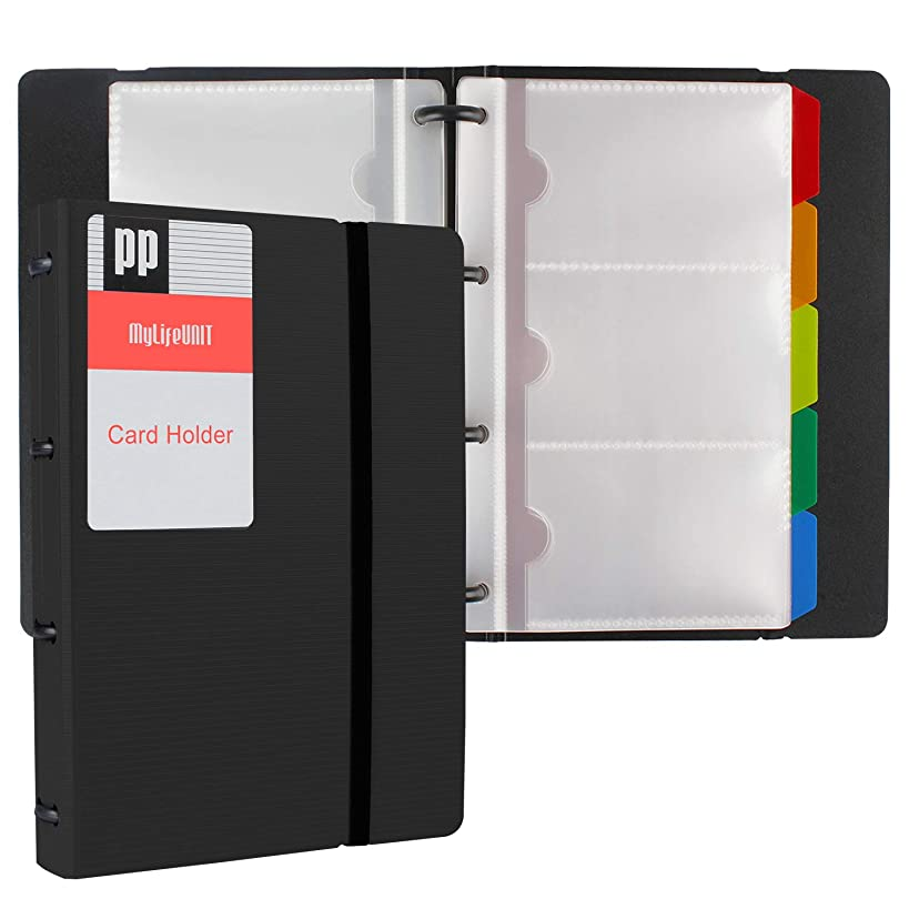MyLifeUNIT Business Card Holder Book, Name Card Organizer Book with Five Color Index Tabs, 120 cards
