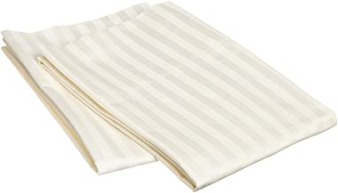 Linenaffairs 100% Long Staple Cotton - Pillow Covers Set of 2 (Standard 20x30 Inch_Ivory Stripe)