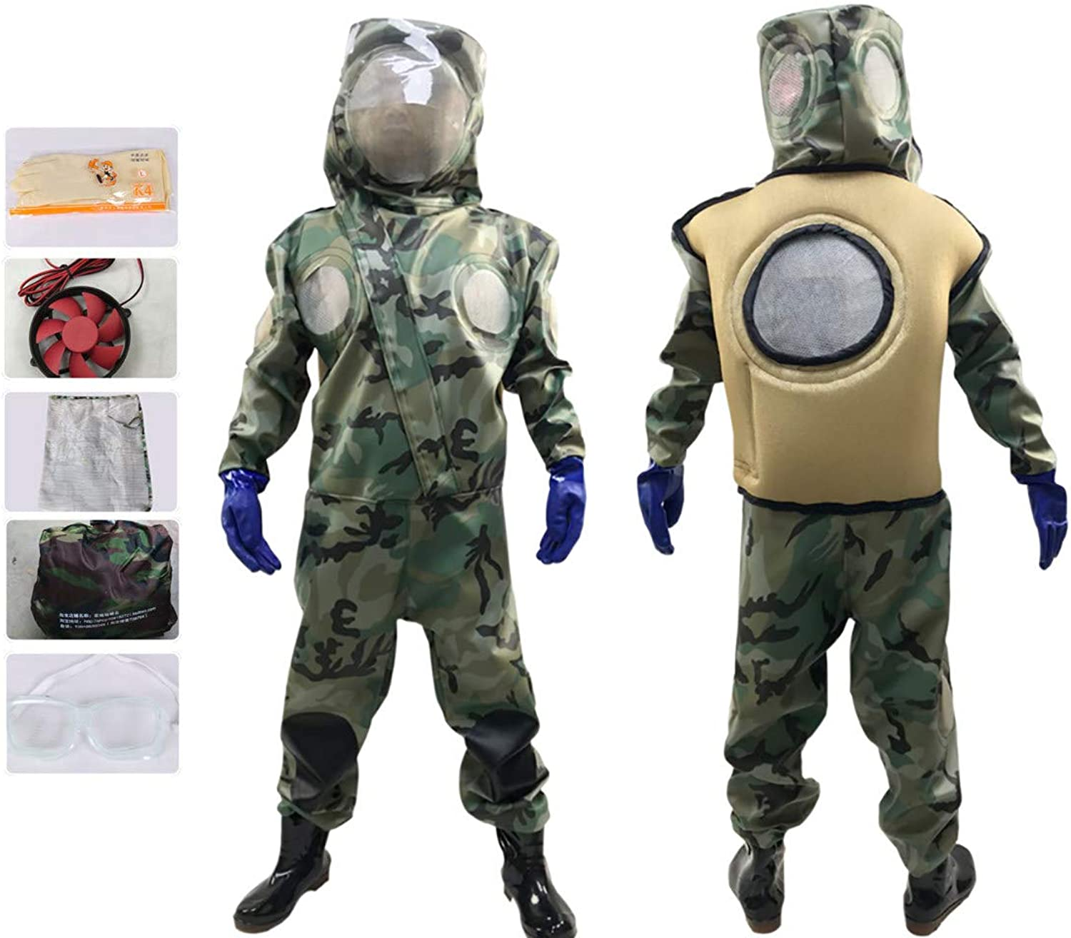 APENCHREN Beekeeping Suit Bee Predective Clothing, with Veil, Ventilation Comfort with Hat, Work clothes  for Beginner and Commercial Beekeepers,XLshoesSize45