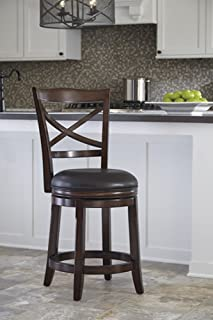 Signature Design By Ashley - Porter Upholstered Swivel Barstool - Set of 2 - Casual Style - Rustic Brown