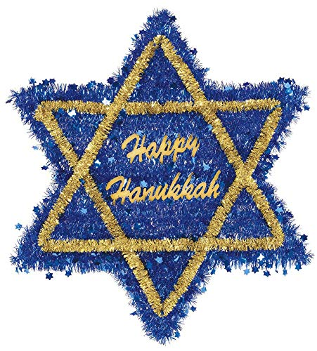 Hanukkah Star Of David Blue Tinsel Hanging Decoration, 20.5' x 18.4' - 1 Pc.