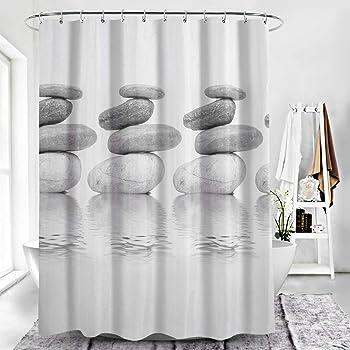 antimoho para Incluye 12/anillos de cortina de ducha para cuarto de ba/ño 180/x 180//180/x 200/cm, gris, 180*180cm yishu degradado impermeable cortina de ducha