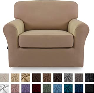Easy-Going 2 Pieces Microfiber Stretch Couch Slipcover – Spandex Soft Fitted Sofa Couch Cover, Washable Furniture Protector with Elastic Bottom for Kids,Pet(Chair,Camel)