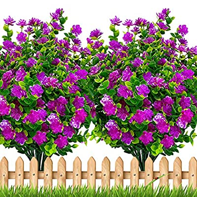 Artificial Flowers Outdoor Plastic Plants - 6 Bundles Outside Face Mums Fake Summer Greenery UV Resistant No Fade Faux Plastic Daffodils Shrubs Home Garden Porch Patio Decoration Office (Magenta)