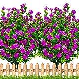 Artificial Flowers Outdoor Fake Plants - UV Resistant Shrubs No Fade Faux Plastic Greenery Home Garden Porch Patio Decoration Office Indoor (Magenta)