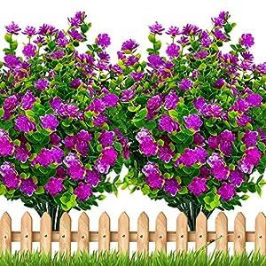 Artificial Flowers Outdoor Shrubs – Fake Plants UV Resistant No Fade Faux Plastic Greenery Home Garden Porch Patio Decoration Office Indoor (Magenta)