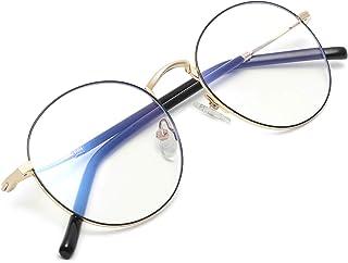 Zéro D Clean Lens Round Blue Light Blocking Glasses Computer Gaming/TV/Phones Anti Eyestrain For Men Women(Gold&Black)