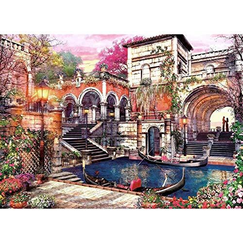 Lunriwis Puzzle de 1000 Piezas para Adultos, Casa de Campo Obra de Arte de Juego de Rompecabezas para Adultos,Adolescentes(70x50cm) (Venecia Ciudad)