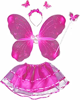 Butterfly Princess 4 Piece Fairy Costume Wings, Headband, Wand and Tutu Accessory Set