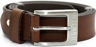 "Milano Mens Full Grain Leather Belt - 1.5"" (40mm) - Black Brown # ML-2920"
