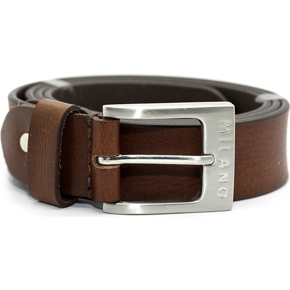 MONIQUE Men 1.5 Wide Brown Stitched Full Grain USA Steer Hide Metal Buckle Belt
