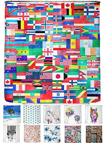 arteneur® - Flagge - Anti-Schimmel Duschvorhang 180x200 - Beschwerter Saum, Blickdicht, Wasserdicht, Waschbar, 12 Ringe in Rot und E-Book mit Reinigungs-Tipps