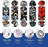 Product Image of the Hikole Skateboard - 31' x 8' Complete PRO Skateboard - Double Kick 7 Layer...