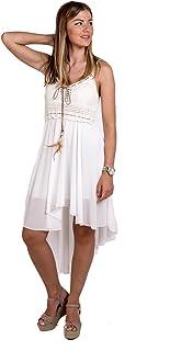 cf480683e Amazon.es: vestidos ibicencos mujer blanco - Única / Mujer: Ropa