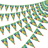5 Packs 60's Tie Dye Pennant Banner, Birthday Flag Pennant Bunting Banner Groovy Peace Sign Party Accessory for 60s 70s Theme Hippie Carnival Groovy Party Decorations Supplies