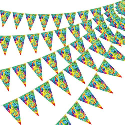 5 Packungen 60er Jahre Tie Dye Wimpel Banner, Geburtstag Flagge Wimpel Bunting Banner Groovy Frieden Zeichen Party Zubehör für 60er 70er Jahre Thema Hippie Karneval Groovy Party Dekorationen Bedarf