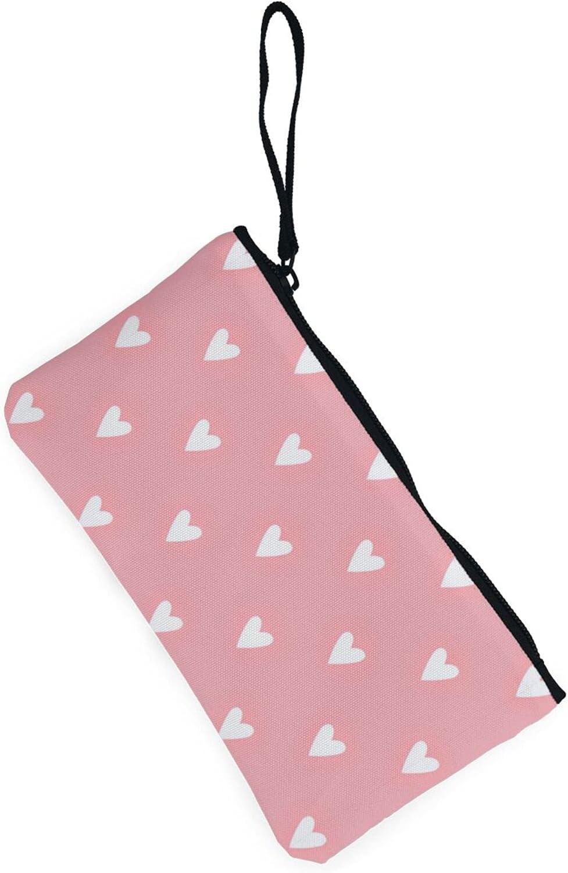 AORRUAM Pink Love Shape Canvas Coin Purse,Canvas Zipper Pencil Cases,Canvas Change Purse Pouch Mini Wallet Coin Bag