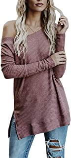 Ofenbuy Womens Off The Shoulder Sweaters Oversized Long Sleeve Knit Casual Pullovers Tunic Tops