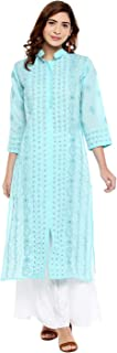 Ladies Dresses Tops Kurti Cotton Long Kurta Hand Embroidery Handmade Lucknow Chikankari for Women