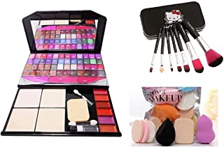 Women's & Girl's TYA 590 Fashion Multicolour Makeup Kit with 7 Black Makeup Brushes Set and 6 Beauty Blender Sponges Pack...