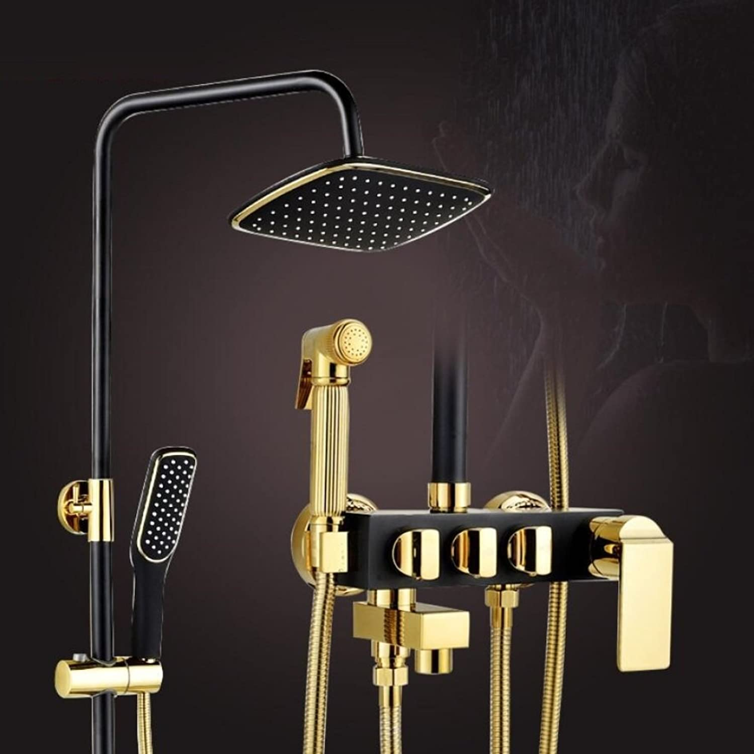 ZHFC Bathroom Shower System,European Adjustable Rainfall Waterfall Shower Head Faucet Rain Massage Brass faucet Shower set black plating
