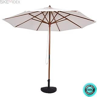 COLIBROX--- Adjustable 9FT Wooden Patio Umbrella Wood Pole Outdoor Garden Sun Shade Beige Cantilever Patio Umbrellas Offset Patio Umbrella Patio Umbrellas Patio Umbrellas costco Sears