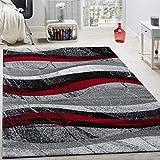 Paco Home Alfombra De Diseño Moderna De Velour Corto con Ondas Abstractas Gris, Negra Y Roja, tamaño:120x170 cm