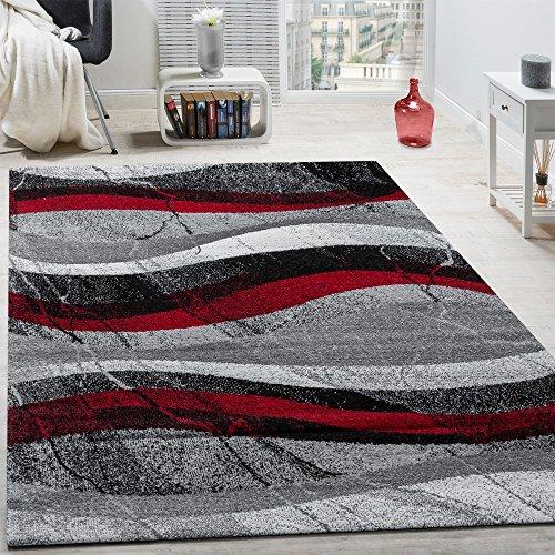Paco Home Designer Teppich Modern Kurzflor Wellen Optik Abstrakt Grau Schwarz Rot, Grösse:160x230 cm