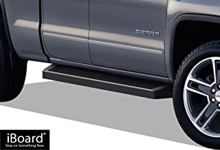 APS iBoard (Black Running Board) Running Boards Nerf Bars Side Step Compatible with 2007-2018 Chevy Silverado GMC Sierra Double Cab Extended Cab & 2019 2500 HD (Exclude 07 Classic)(Include 19 1500 LD)