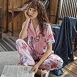 Pijama de verano para mujer, de manga corta, de algodón, con estampado dulce (color: flor de mirto, tamaño: XL)