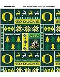 University of Oregon Fleece Blanket Fabric with Christmas Sweater Print-