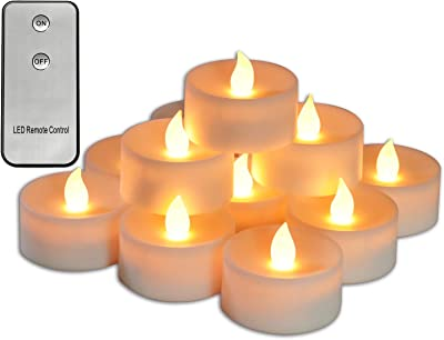 """Youngerbaby 2.5""""x1.5"""" 6 Pack Big Tea Light Battery Operated with Timer Flameless Candles 2xAAA Battery Not Included,Flickering Amber Large Tealight (12 Pack-Warm White-Remote Control)"""